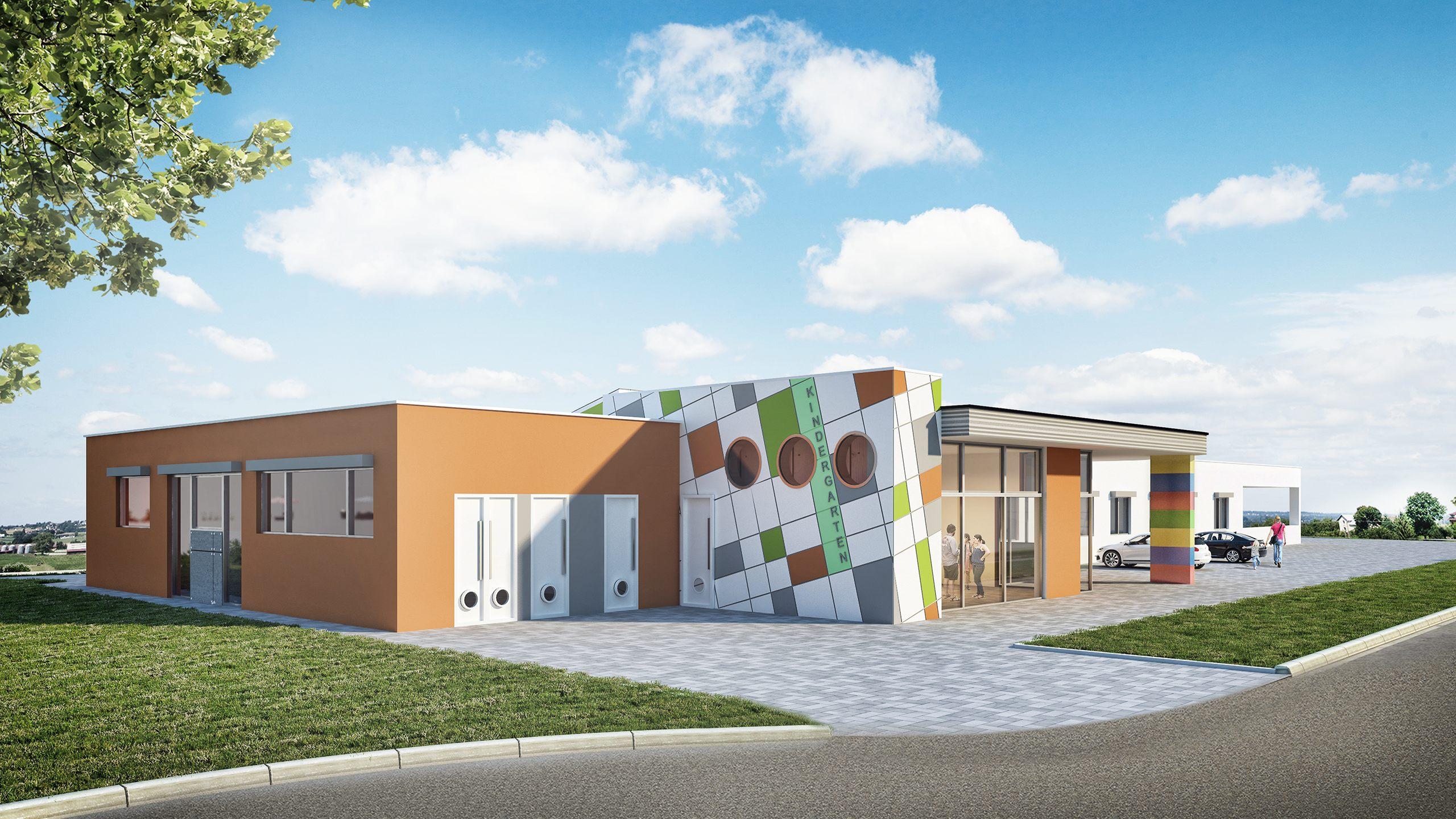 Architekturvisualisierung eines Kindergarten