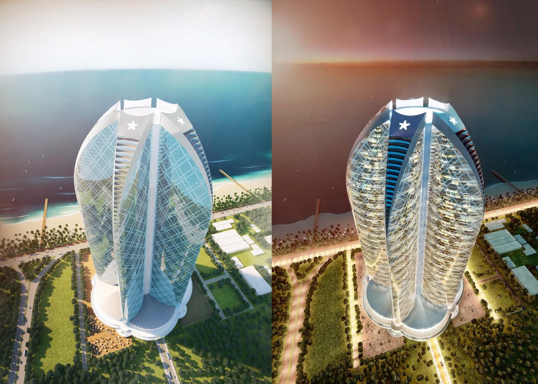 Rendering eines 600m hohen SUPERCEL Gebäude für Jendrusch Capital