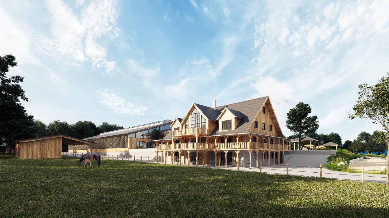 Architekturvisualisierung einer Reitanlage mit Wohnhaus in Bayern