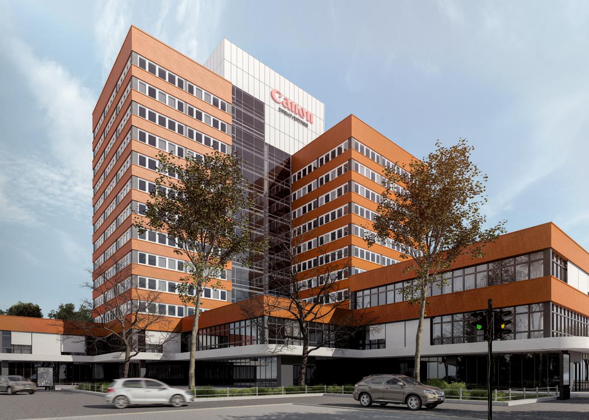 3D Rendering von Canon Deutschland, Fassadenumbau.